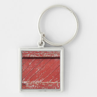 Red Painted Wooden Barn Door Key Ring