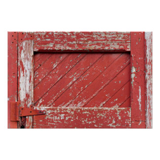 Red Painted Wooden Barn Door Poster
