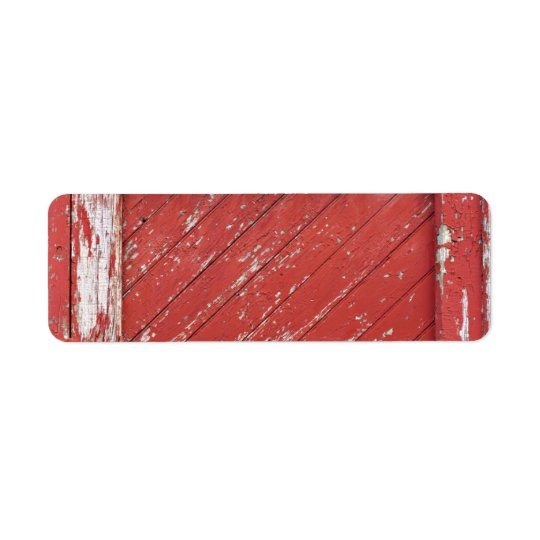 Red Painted Wooden Barn Door Return Address Label