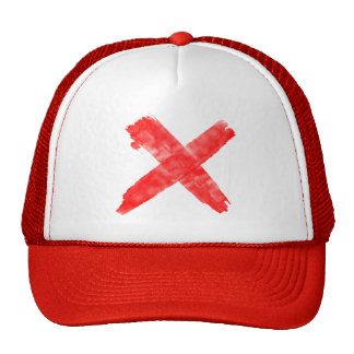 red painted-x cap