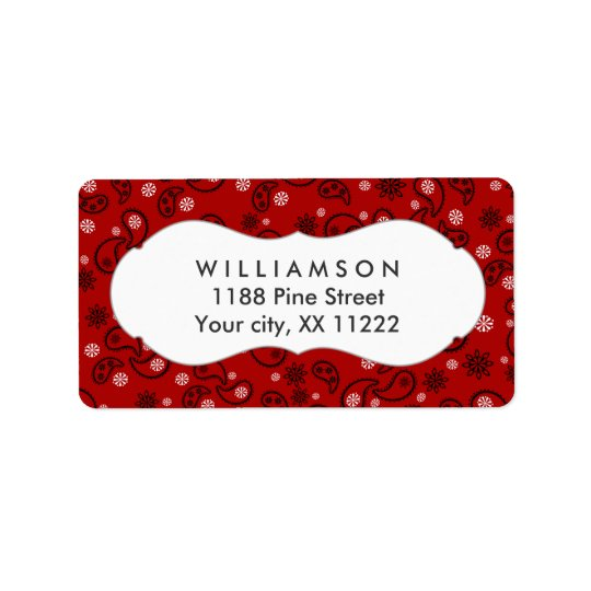 red paisley bandanna cowboy western favour label