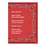 Red Paisley Bandanna Invitation 13 Cm X 18 Cm Invitation Card