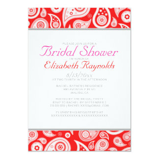 Red Paisley Bridal Shower Invitations