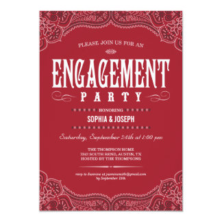 Red Paisley Engagement Party Invitations