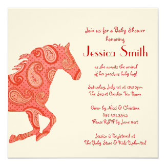 Red Paisley Horse Baby Shower 13 Cm X 13 Cm Square Invitation Card