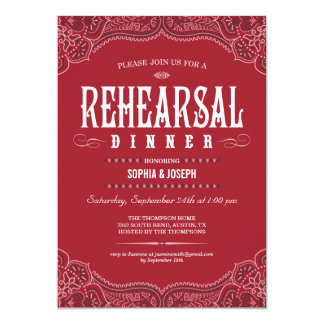 Red Paisley Rehearsal Dinner Invitations