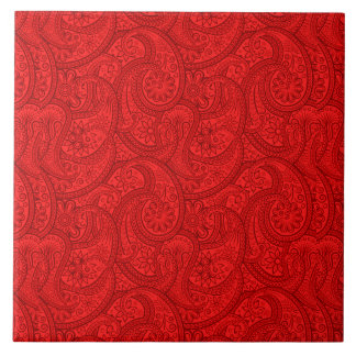 Red Paisley Tile