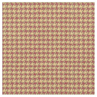 Red, pale yellow/orange, houndstooth fabric
