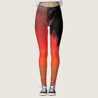 RED Palm Tree Leggings