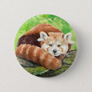 Red panda 6 cm round badge