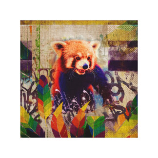 Red Panda Abstract mixed media art collage Canvas Print
