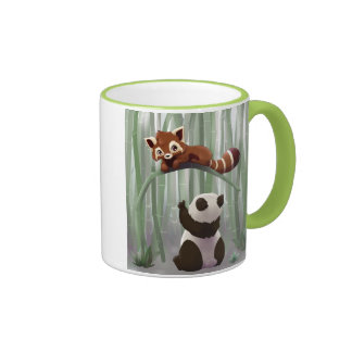 Red panda and panda bear cub mug