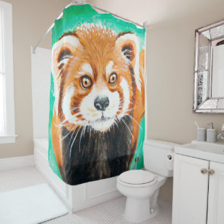Red Panda Art Shower Curtain