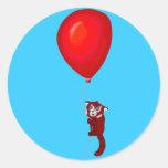 Red Panda Balloon Flight Round Sticker