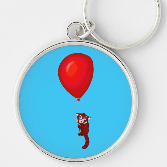 Red Panda Balloon Flight Silver-Colored Round Key Ring