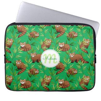 Red Panda & Bamboo Leaves Pattern Laptop Sleeve