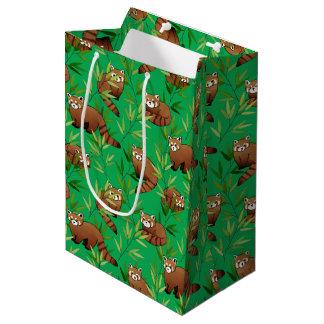 Red Panda & Bamboo Leaves Pattern Medium Gift Bag
