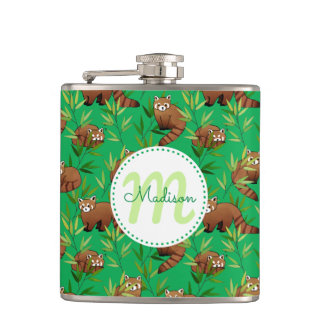 Red Panda & Bamboo Leaves Pattern & Monogram Hip Flask