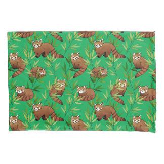 Red Panda & Bamboo Leaves Pattern Pillowcase