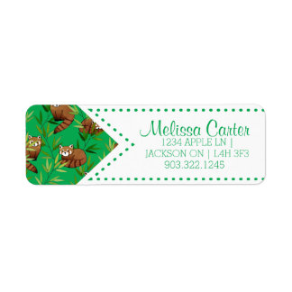 Red Panda & Bamboo Leaves Pattern Return Address Label