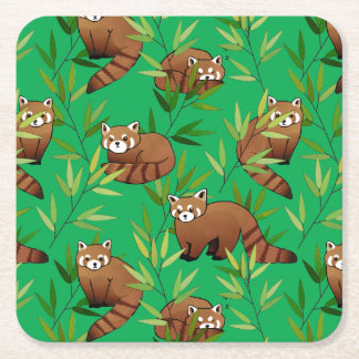 Red Panda & Bamboo Leaves Pattern Square Paper Coaster