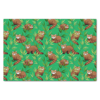 Red Panda & Bamboo Leaves Pattern Tissue Paper