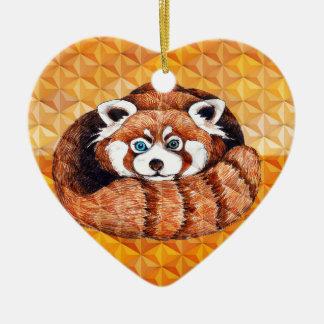 Red Panda Bear On Orange Cubism Ceramic Ornament