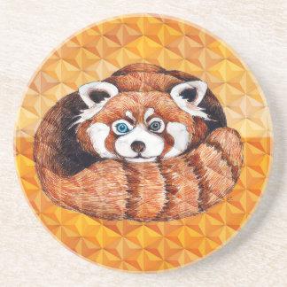Red Panda Bear On Orange Cubism Coaster