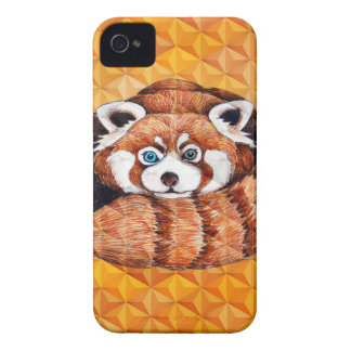 Red Panda Bear On Orange Cubism iPhone 4 Cover