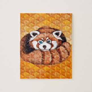 Red Panda Bear On Orange Cubism Jigsaw Puzzle