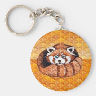 Red Panda Bear On Orange Cubism Key Ring