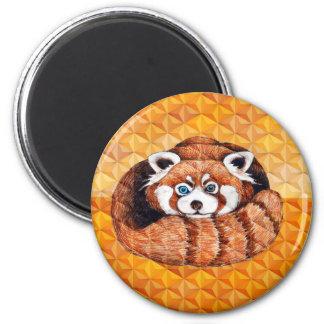 Red Panda Bear On Orange Cubism Magnet