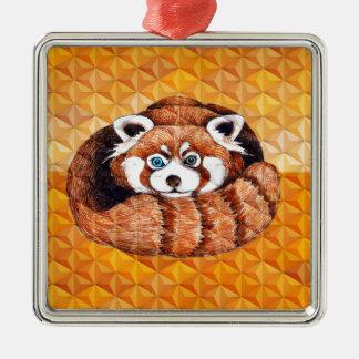 Red Panda Bear On Orange Cubism Metal Ornament