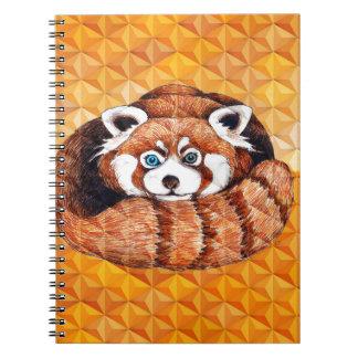 Red Panda Bear On Orange Cubism Notebook