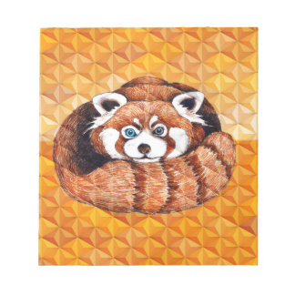 Red Panda Bear On Orange Cubism Notepad