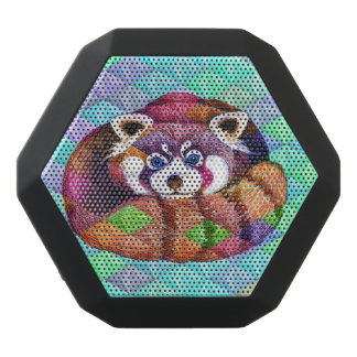 Red Panda bear on turquoise cubism Black Bluetooth Speaker