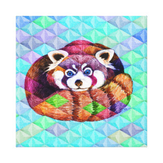 Red Panda bear on turquoise cubism Canvas Print