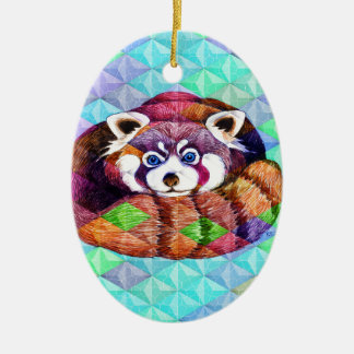 Red Panda bear on turquoise cubism Ceramic Ornament