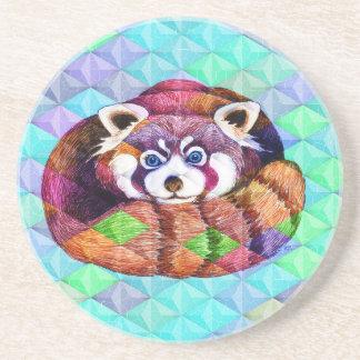 Red Panda bear on turquoise cubism Coaster