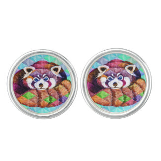 Red Panda bear on turquoise cubism Cufflinks