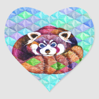 Red Panda bear on turquoise cubism Heart Sticker