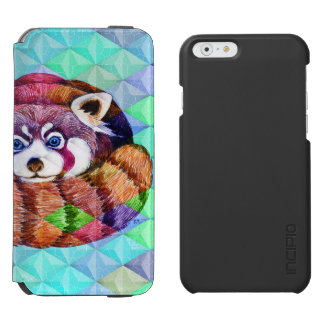 Red Panda bear on turquoise cubism Incipio Watson™ iPhone 6 Wallet Case