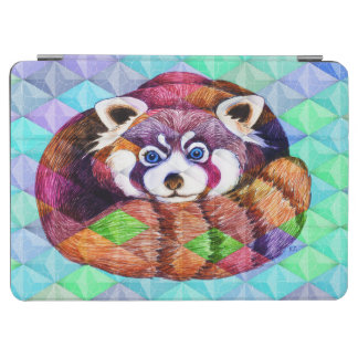 Red Panda bear on turquoise cubism iPad Air Cover
