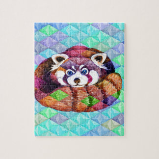 Red Panda bear on turquoise cubism Jigsaw Puzzle
