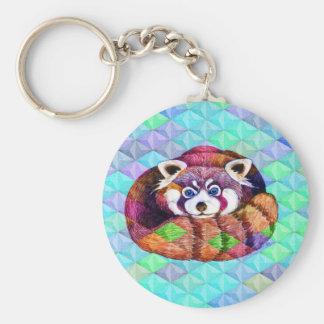 Red Panda bear on turquoise cubism Key Ring