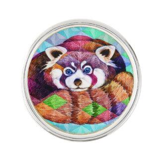 Red Panda bear on turquoise cubism Lapel Pin