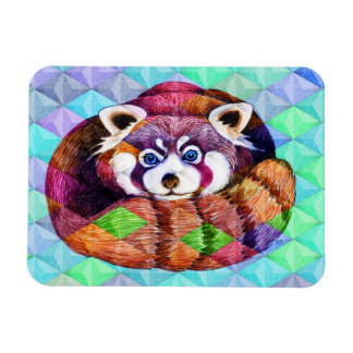 Red Panda bear on turquoise cubism Magnet