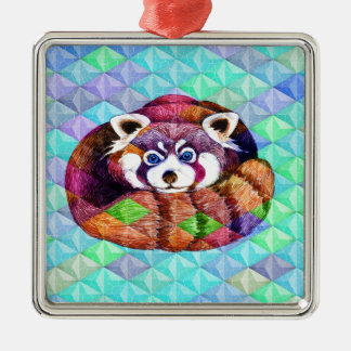 Red Panda bear on turquoise cubism Metal Ornament