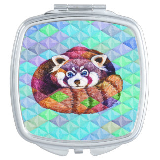Red Panda bear on turquoise cubism Mirror For Makeup