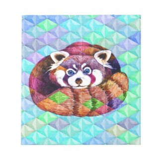 Red Panda bear on turquoise cubism Notepad